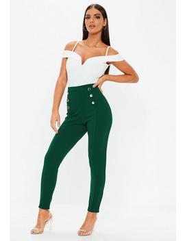 Green Button Front Cigarette Trousers by Missguided