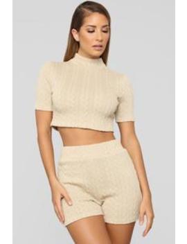 Sweater Feels Short Set   Light Taupe by Fashion Nova