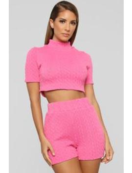 Sweater Feels Short Set   Pink by Fashion Nova
