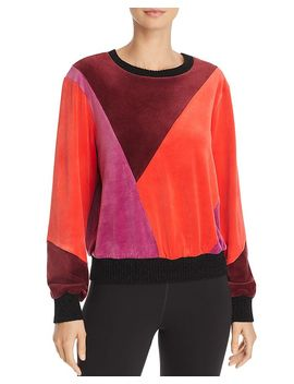 X Margherita Velluto Color Block Velour Sweatshirt by Splendid
