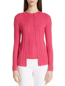 Superfine Variegated Rib Knit Cardigan by St. John Collection