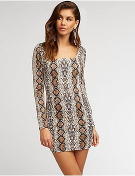 Snakeskin Print Bodycon Dress by Charlotte Russe