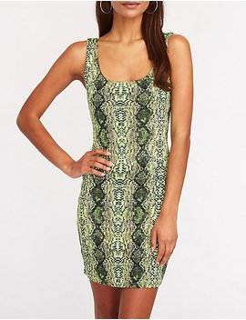 Neon Snakeskin Print Bodycon Dress by Charlotte Russe