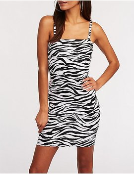 Zebra Print Bodycon Dress by Charlotte Russe