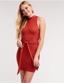 Mock Neck Tie Front Dress by Charlotte Russe