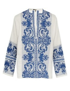 Patmos Floral Embroidered Cotton Top by Isabel Marant