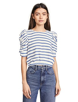 Striped Pouf Sleeve Top by Moon River