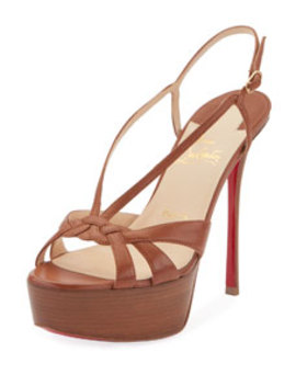 Veracite 130mm Platform Red Sole Slingback Sandals by Christian Louboutin
