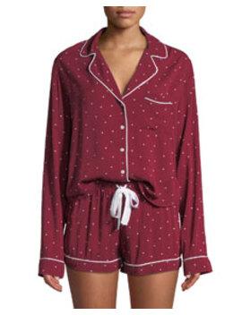 Mini Hearts Long Sleeve Shortie Pajama Set by Rails