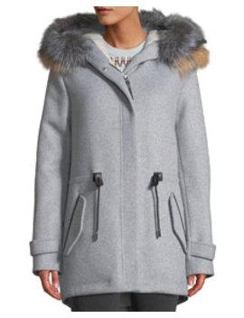 Alexa Wool Blend Trench Coat W/ Tricolor Fur by Mackage