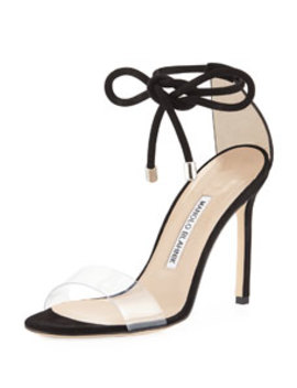 Estro Leather & Pvc Ankle Wrap Sandal by Manolo Blahnik