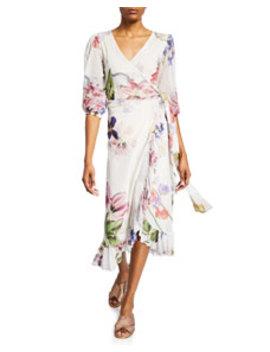 Floral Print Ruffle Half Sleeve Wrap Dress by Ganni