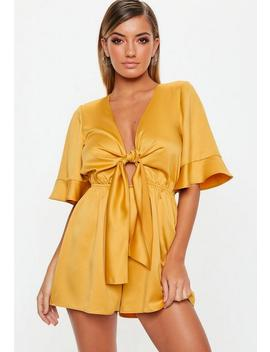 Mustard Kimono Sleeve Satin Playsuit by Missguided