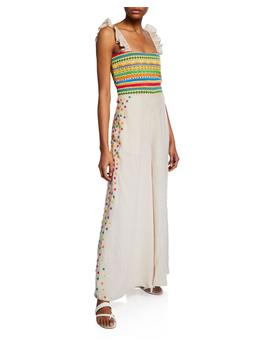 Elena Embroidered Linen Wide Leg Jumpsuit by All Things Mochi