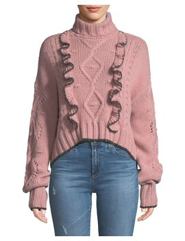 Edna Ruffle Turtleneck Cropped Sweater by Cinq A Sept