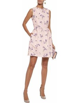 Flared Floral Print Faille Mini Dress by Red Valentino