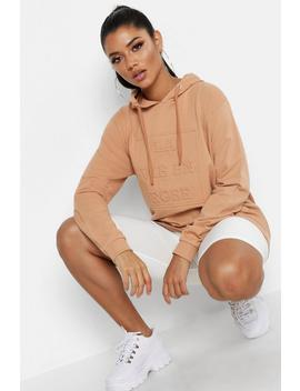Embossed Slogan Hoody by Boohoo