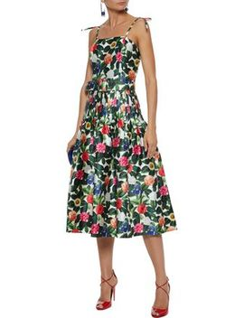 Floral Print Silk And Cotton Blend Twill Midi Dress by Oscar De La Renta