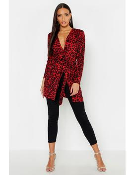 Leopard Print Belted Kimono by Boohoo