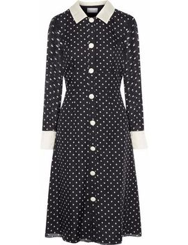 Satin Trimmed Polka Dot Silk Chiffon Dress by Mikael Aghal