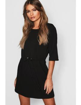 Gathered Eyelet Waist Mini Dress by Boohoo