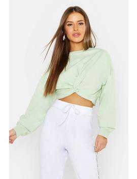 Petite Knot Front Cropped Sweat by Boohoo