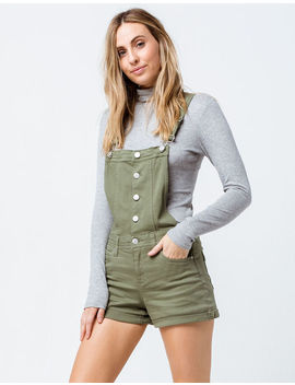Sky And Sparrow Button Front Olive Womens Shortalls by Sky And Sparrow
