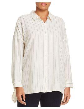 Chalk Stripe Button Down Shirt by Eileen Fisher Plus