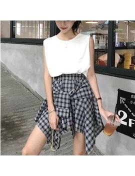 Moon City   Crew Neck Tank Top / Plaid A Line Skirt by Moon City