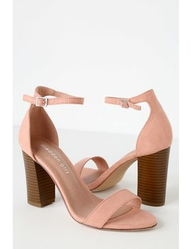 Bella S Champagne Suede Ankle Strap Heels by Madden Girl