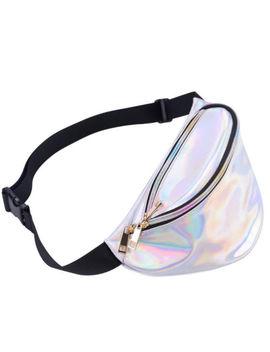 Women Iridescent Hologram Fanny Pack Shiny Metallic Waist Bag Punk Girl Fashion by Unbranded