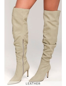 Toni Beige Canvas Over The Knee Boots by Allegra James