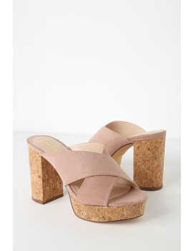 Sicily Mauve Suede Cork Platform Heels by Lulus
