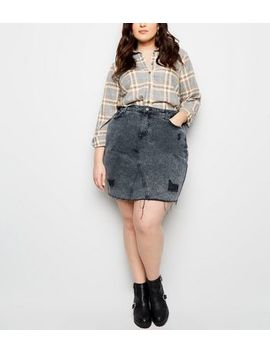 Curves Black Ripped Acid Wash Denim Skirt by New Look