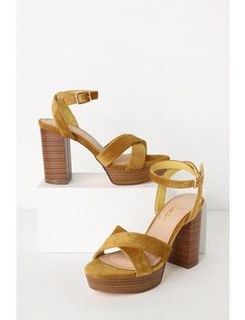 Shae Mustard Velvet Platform Ankle Strap Heels by Lulus