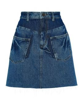 Fadela Paneled Denim Mini Skirt by Sandro