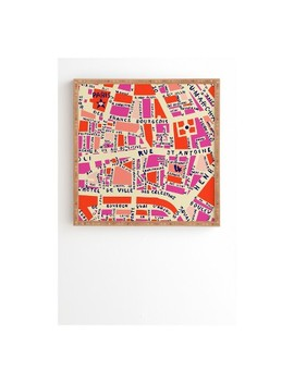 Holli Zollinger Paris Map Pink Framed Wall Art by Deny Designs