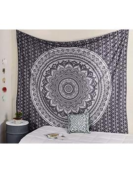 Popular Handicrafts Ombre Silver Tapestry Mandala Tapestries Wall Art Hippie Wall Hanging Bohemian Bedspread With Metallic Shine Tapestries 84x54 Inches Grey by Popular Handicrafts