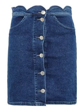 Jaron Scalloped Denim Mini Skirt by Maje