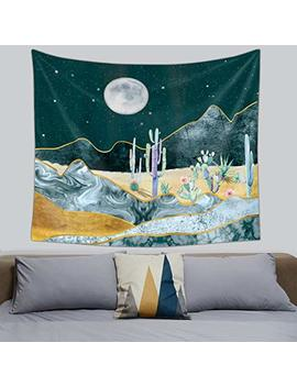 Psychedelic Tapestry Wall Hanging, Celestial Moon Sun Wall Tapestry, Indian Hippie Tapestry, Wall Art Decoration For Bedroom Living Room Dorm (Cactus) by Bapple