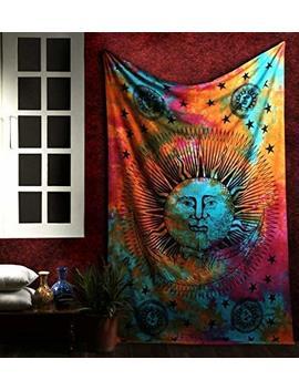 Marubhumi Psychedelic Sun Moon Stars Tie Dye Mandala Tapestry Hippie Hippy Celestial Wall Hanging Indian Trippy Bohemian Tapestries by Marubhumi