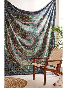 Third Eye Export   Indian Mandala Beach Blue Throw Hippie For Bedroom Home Decor Dorm Wall Hanging Medallion Bohemian Blue Boho Tapestry Elephant Bedspread Tapestries (Blue Single) by Third Eye Export