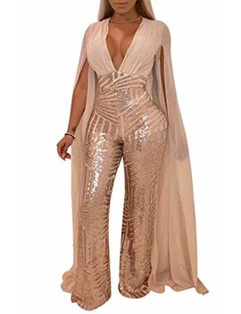 Chicmay Women Sequins Jumpsuit Mesh Sheer Split Floor Length Sleeve Plunge V Neck Backless Flare Pants Romper Clubwear by Chicmay