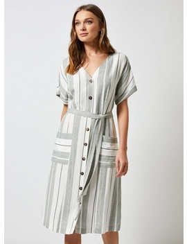 Grey Sage Stripe Midi Dress by Dorothy Perkins