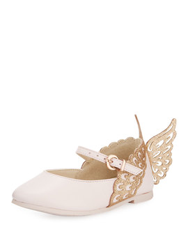 Evangeline Leather Butterfly Wing Flats, Toddler/Kid by Sophia Webster