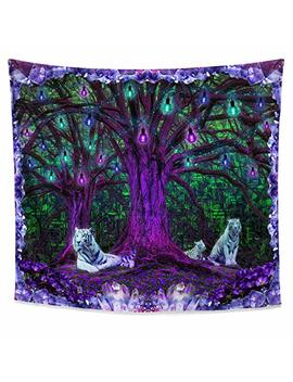Lucid Eye Studios Tiger Tree Psychedelic Tapestry  Green Matrix Blacklight Wall Hanging  Amethyst Room Decor  Nature Forest Tapestry  Tree Of Life Leaves Pattern by Lucid Eye Studios