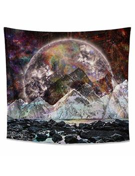 Lucid Eye Studios Cosmic View Moon Tapestry  Galaxy Wall Art  Space Mountain Wall Tapestry  Dark Dorm Room Decor  Psychedelic Wall Hanging  Nature Zodiac Home Decor by Lucid Eye Studios