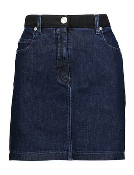 Satin Twill Trimmed Denim Mini Skirt by Pierre Balmain
