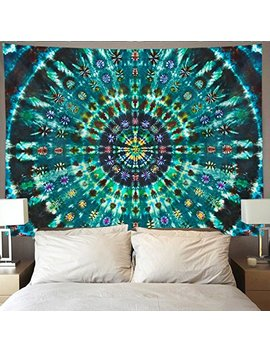 Homestores Spiral Tie Dye Mandala Green Wall Tapestry Hippie Art Tapestry Wall Hanging Home Decor Extra Large Tablecloths 60x90 Inches For Bedroom Living Room Dorm Room by Homestores
