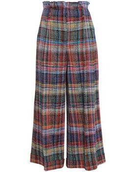 Checked Cotton Wide Leg Pants by Missoni